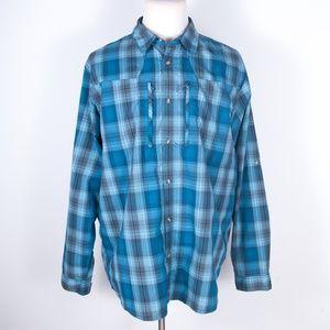 Patagonia Sun Stretch Blue Plaid Shirt